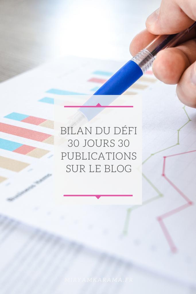 Bilan du défi 30 jours 30 publications sur le blog