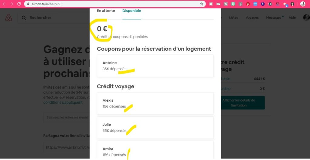 Airbnb commission d'affiliation